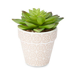 Beige Mosaic print Plastic Pot with artificial succulent