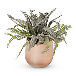 Copper effect Plastic Pot with artificial fern