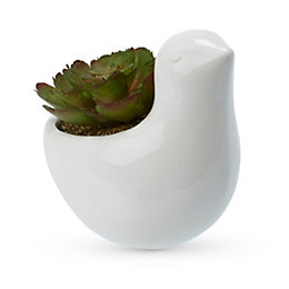 White Bird Plastic Pot with artificial succulent, Small