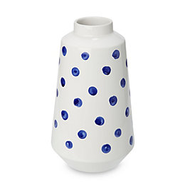 Blue & white Polka dot Dolomite Vase, Tall