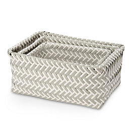 Grey & White 3L Plastic Basket, Set of