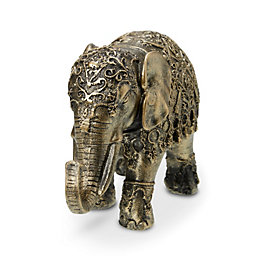 Gold effect Elephant Resin Ornament, Small