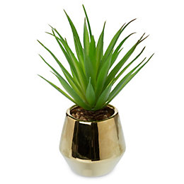 Gold effect Dolomite & PVC Pot with artificial