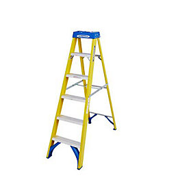 Werner 6 tread Fibreglass Swing back stepladder, 1.6m
