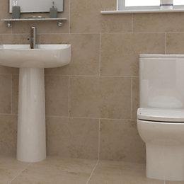 Castle travertine Cream Stone effect Ceramic Wall tile,