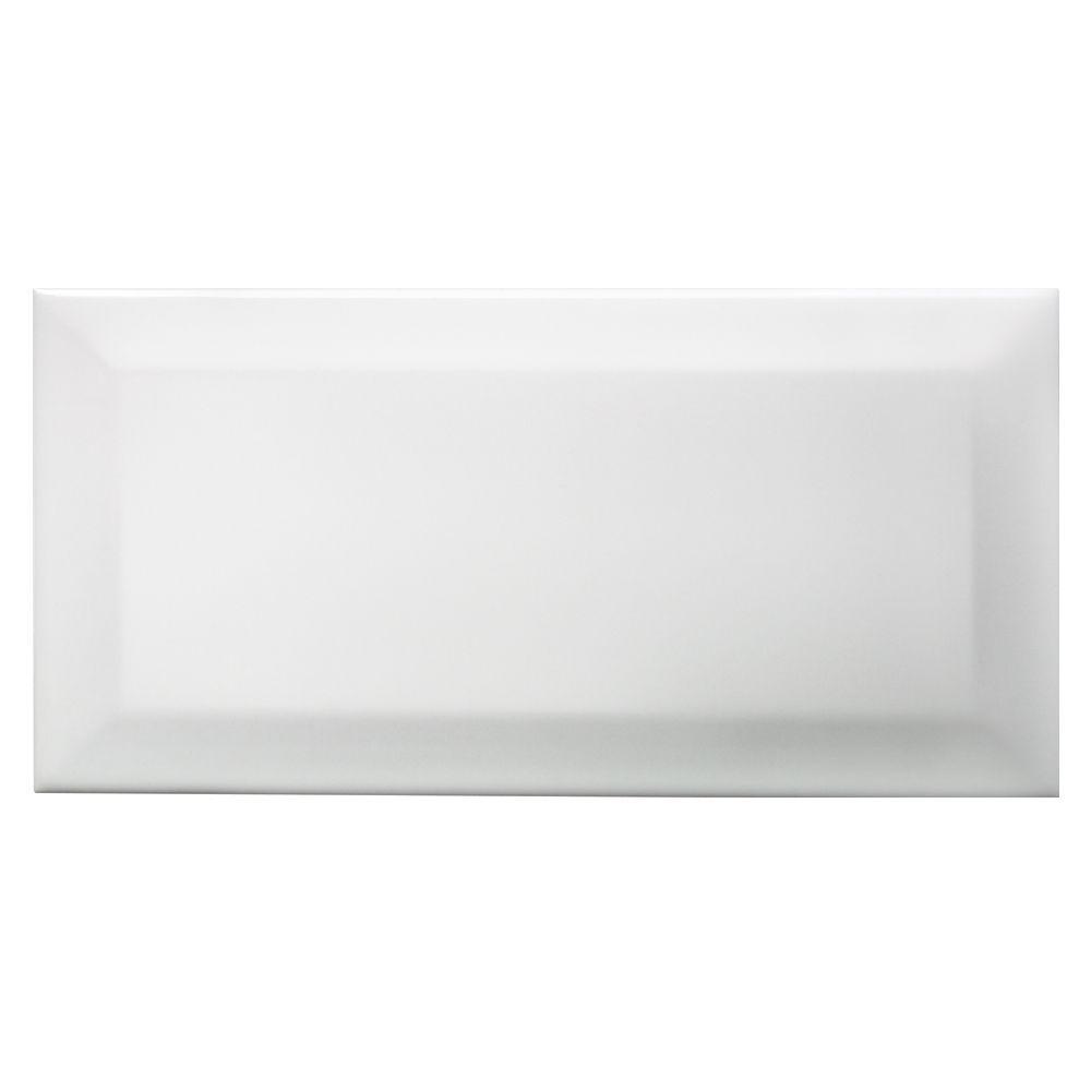Bevelled Edge White Ceramic Wall Tile, Pack of 50, (L ...
