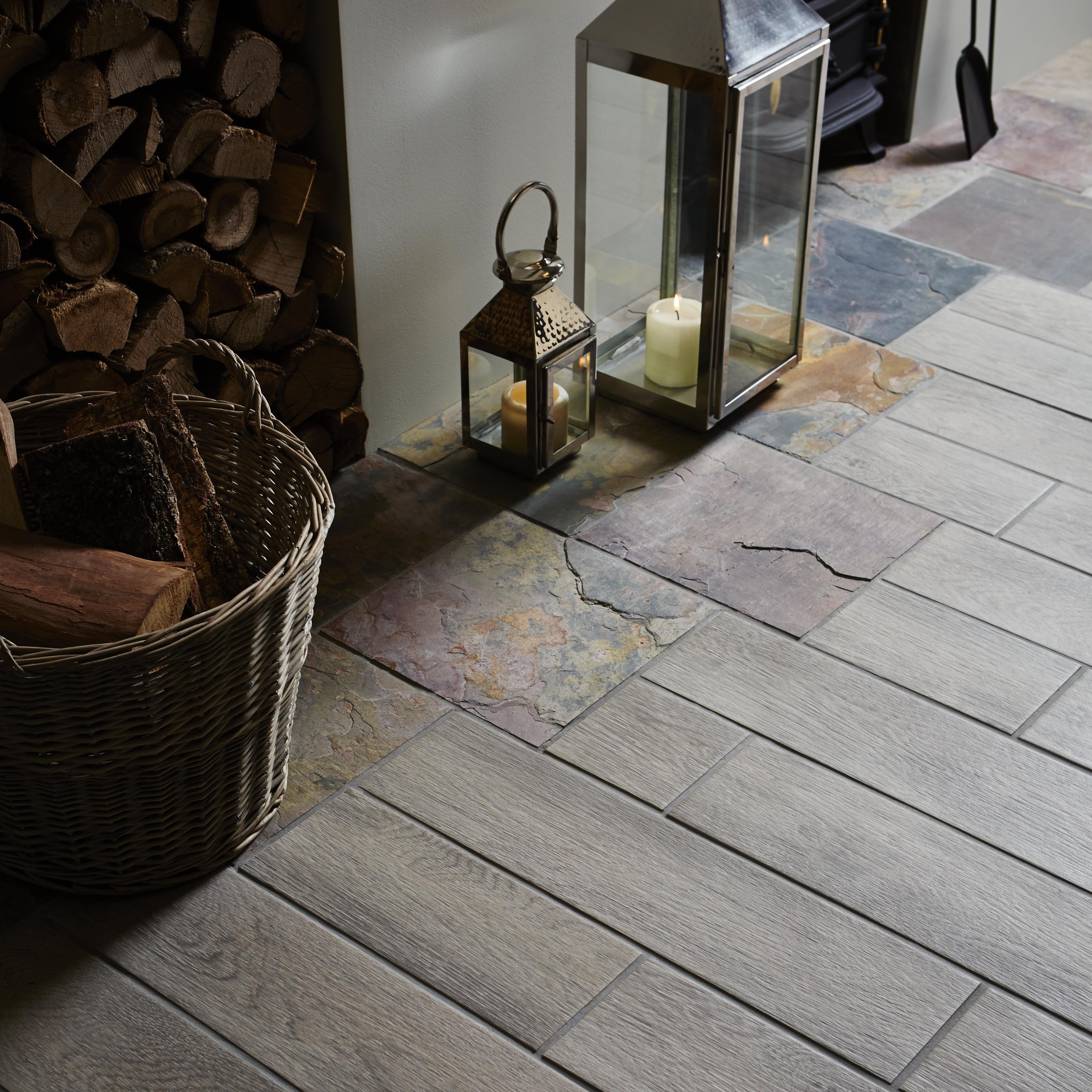 Natural Travertine Mosaic Tile L 300mm W 300mm: Natural Sheera Slate Matt Stone Effect Slate Wall & Floor