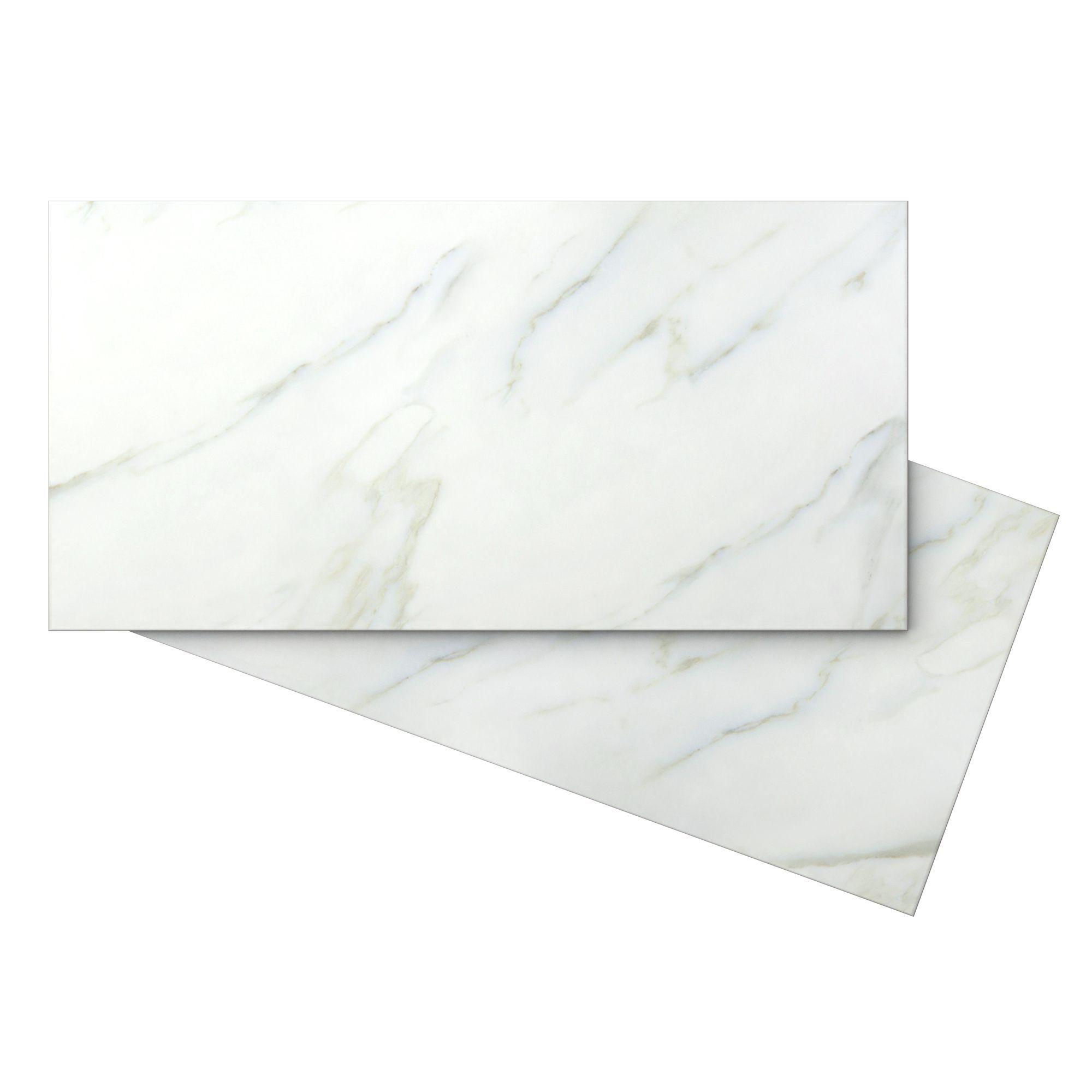 Aquila White Stone Effect Carrara Ceramic Wall Tile Pack