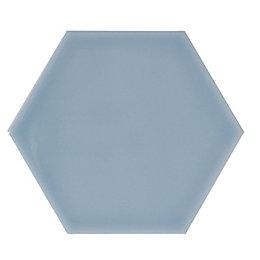 Hanbury Cornflower Gloss Hexagon Ceramic Wall tile, Pack