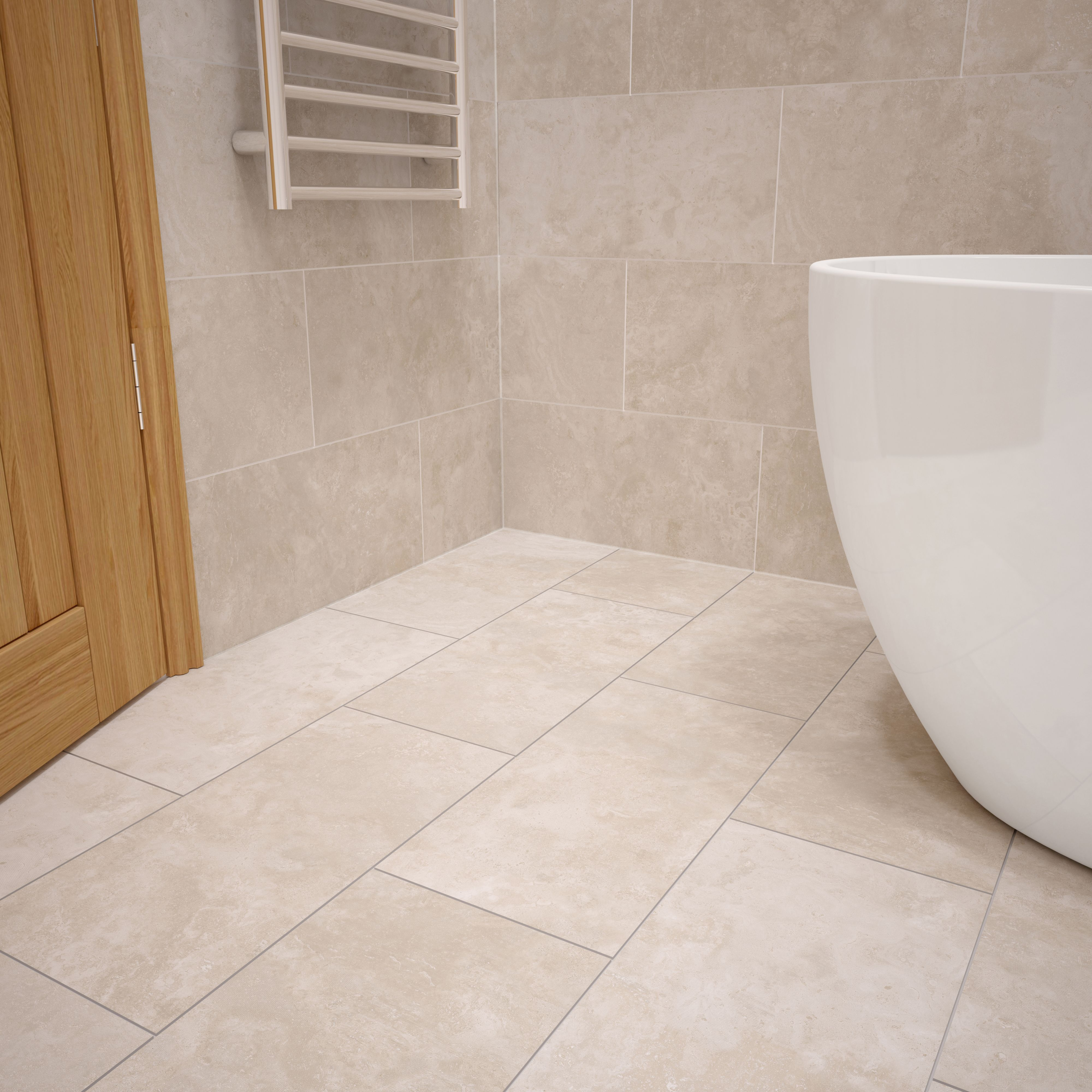 Urban Cement Grey Stone Effect Ceramic Wall Floor Tile: Urban Cement Cream Stone Effect Ceramic Wall & Floor Tile