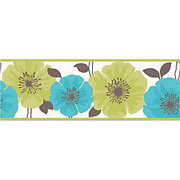 Poppie Green & teal Floral Border