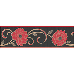 Florentina Cream & Red Floral Border