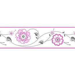 Cassidy Cream & pink Floral Border