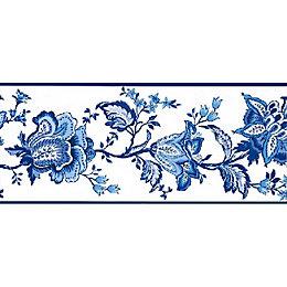 Sophie Blue & White Floral Border
