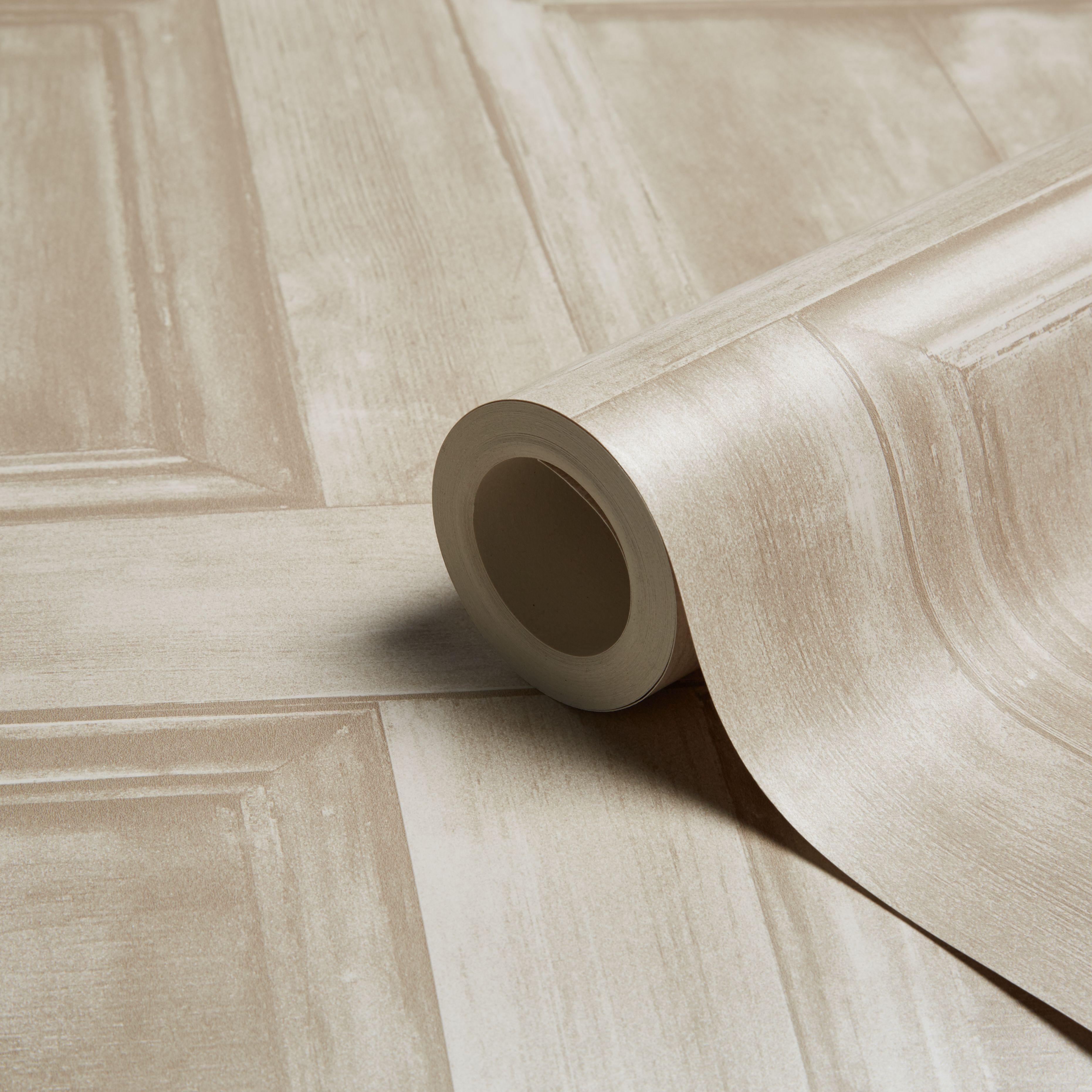 Fine Decor Cream Wood Panel Wallpaper Departments Diy At B Q
