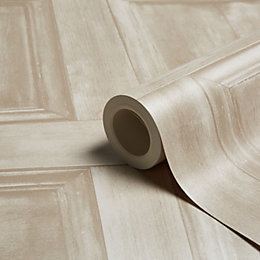Fine Décor Cream Wood Panel Wallpaper