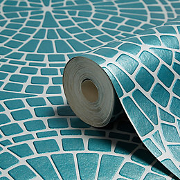 Fine Décor Ceramica Teal Mosaic Wallpaper