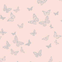 Fine Décor Sparkle Pink Butterfly Glitter Effect Wallpaper