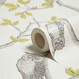 Fine Décor Green Woodland Owls Mica Effect Wallpaper