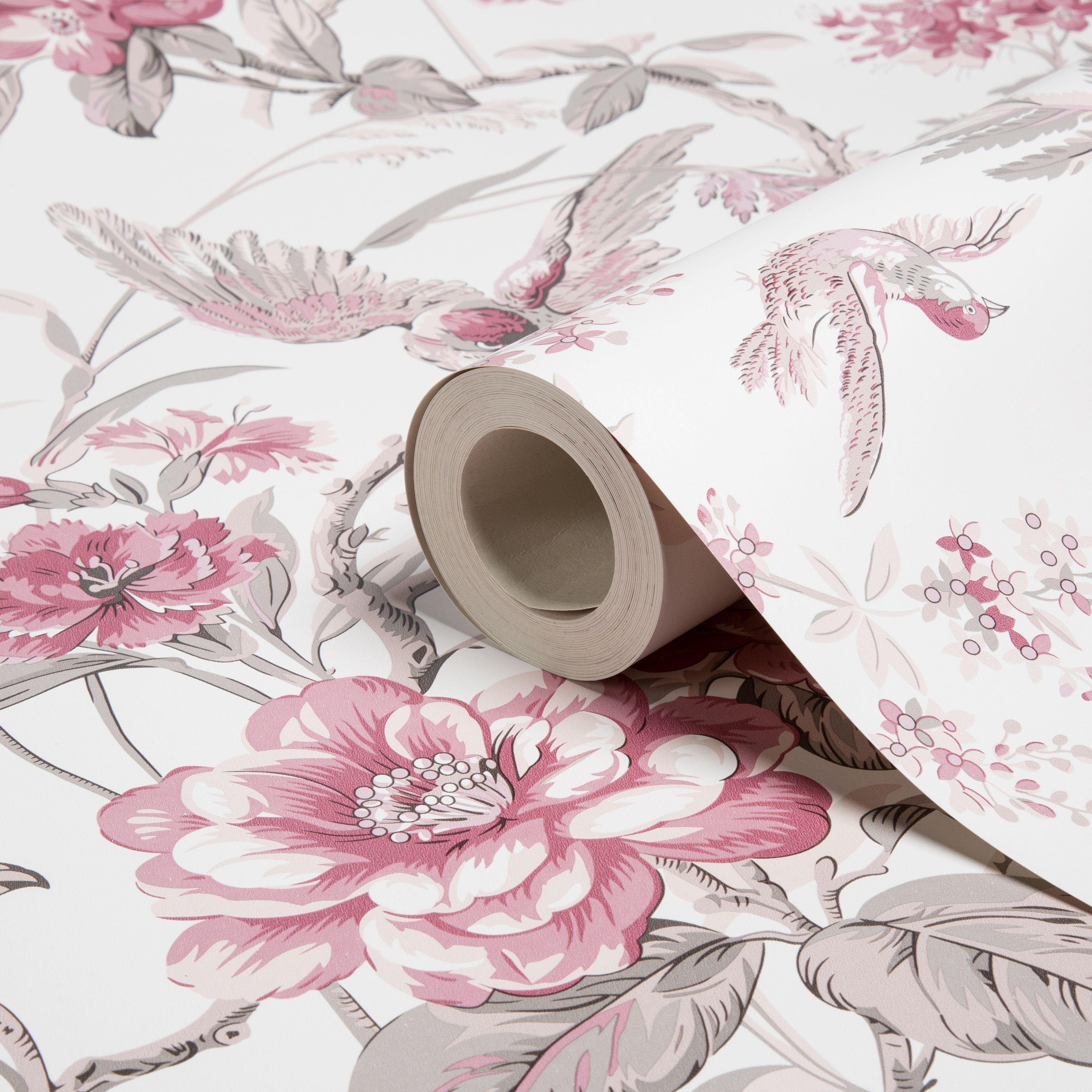 Elizabeth Dusky Pink Floral Birds Wallpaper   Departments   DIY at B&Q