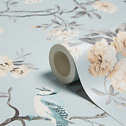 Fine Décor Chinoiserie Teal Foliage & Birds Wallpaper