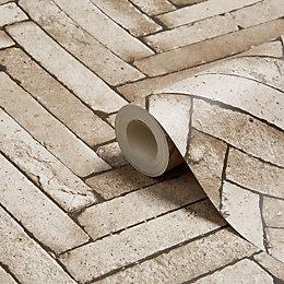 Fine Décor Taupe Diagonal slate Wallpaper