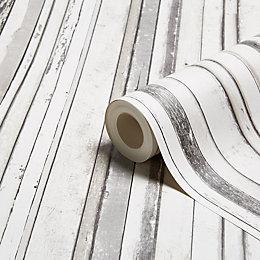 Fine Décor Grey Wood Stripe Wallpaper