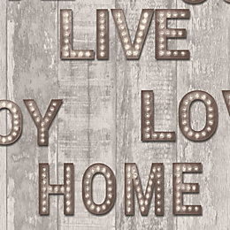 Brown Letter Lights Glitter Effect Wallpaper