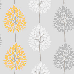 Fine Décor Grey Tree Glitter Effect Wallpaper