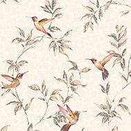 Fine décor Beige Birds Glitter Wallpaper