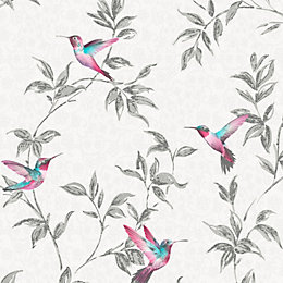 Fine Décor Grey Birds Glitter Effect Wallpaper