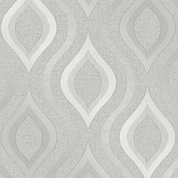 Fine Décor Grey Geometric Textured Wallpaper