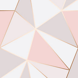 Fine Décor Rose Gold Geometric Textured Wallpaper