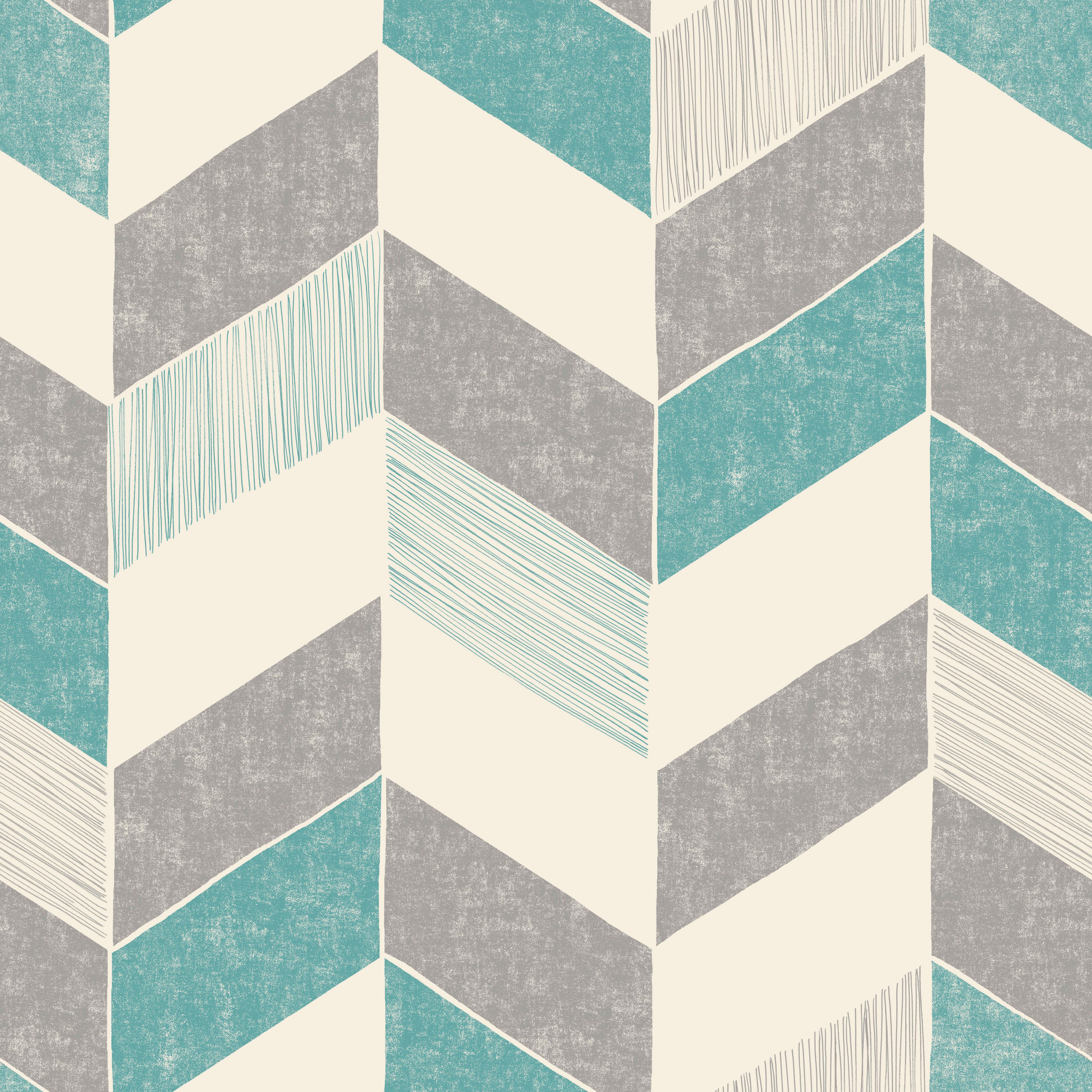 Fine d cor astrid teal geometric wallpaper departments for Geometric wallpaper