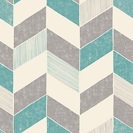 Fine Décor Astrid Teal Geometric Wallpaper