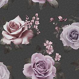 Fine Décor Rosa Black & Pink Floral Wallpaper