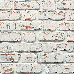 Fine décor Rustic White Brick effect Wallpaper
