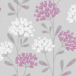 Fine Décor Ola Plum Floral Wallpaper