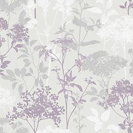 Fine Décor Meadow Mauve Floral Wallpaper