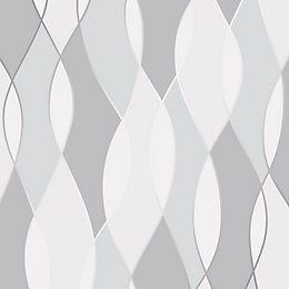Fine Décor Grey Geometric Textured Wallpaper