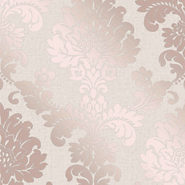 Fine Décor Rose Gold Damask Textured Wallpaper