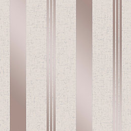 Fine Décor Rose Gold Stripe Textured Wallpaper