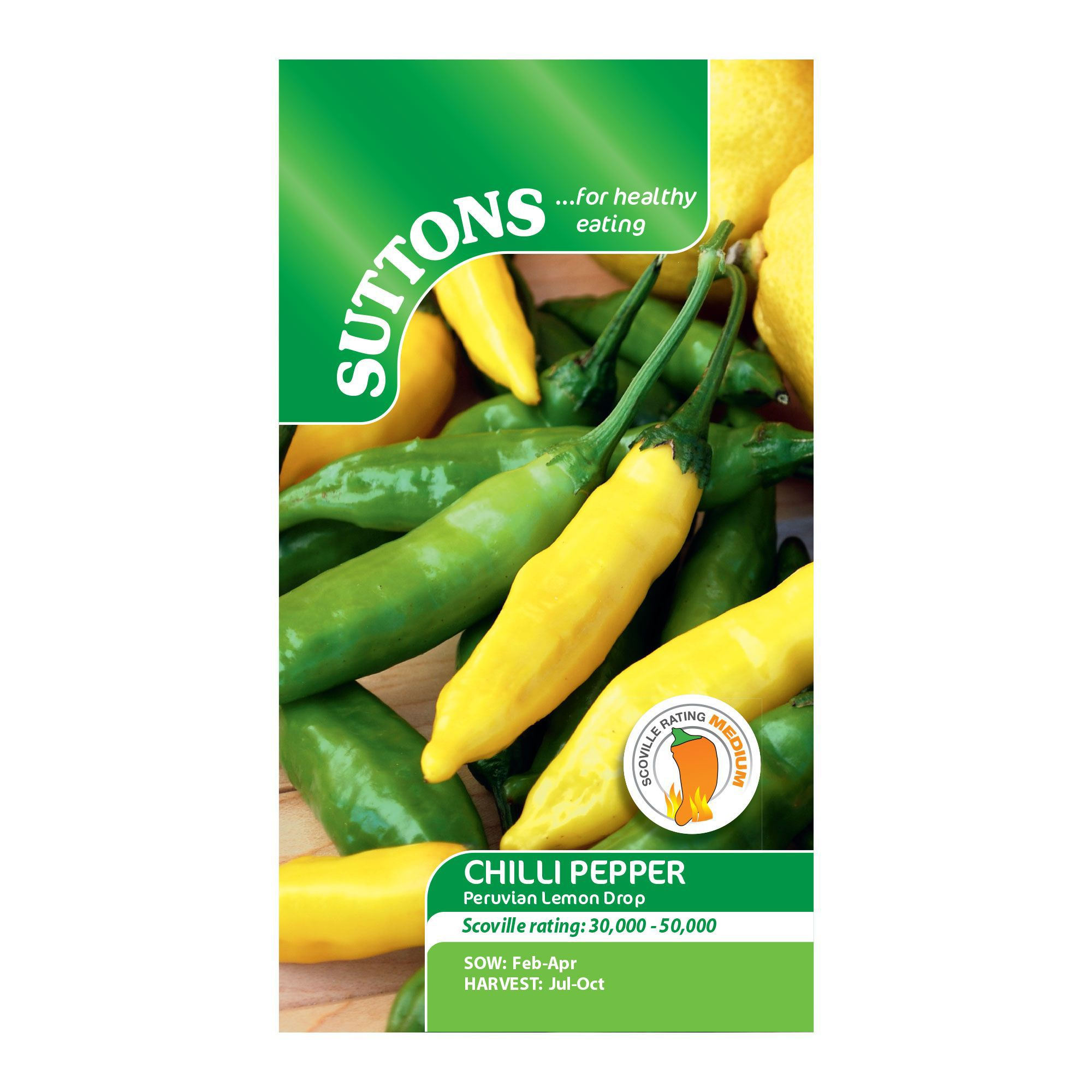Suttons Chilli pepper Seeds, Peruvian lemon drop