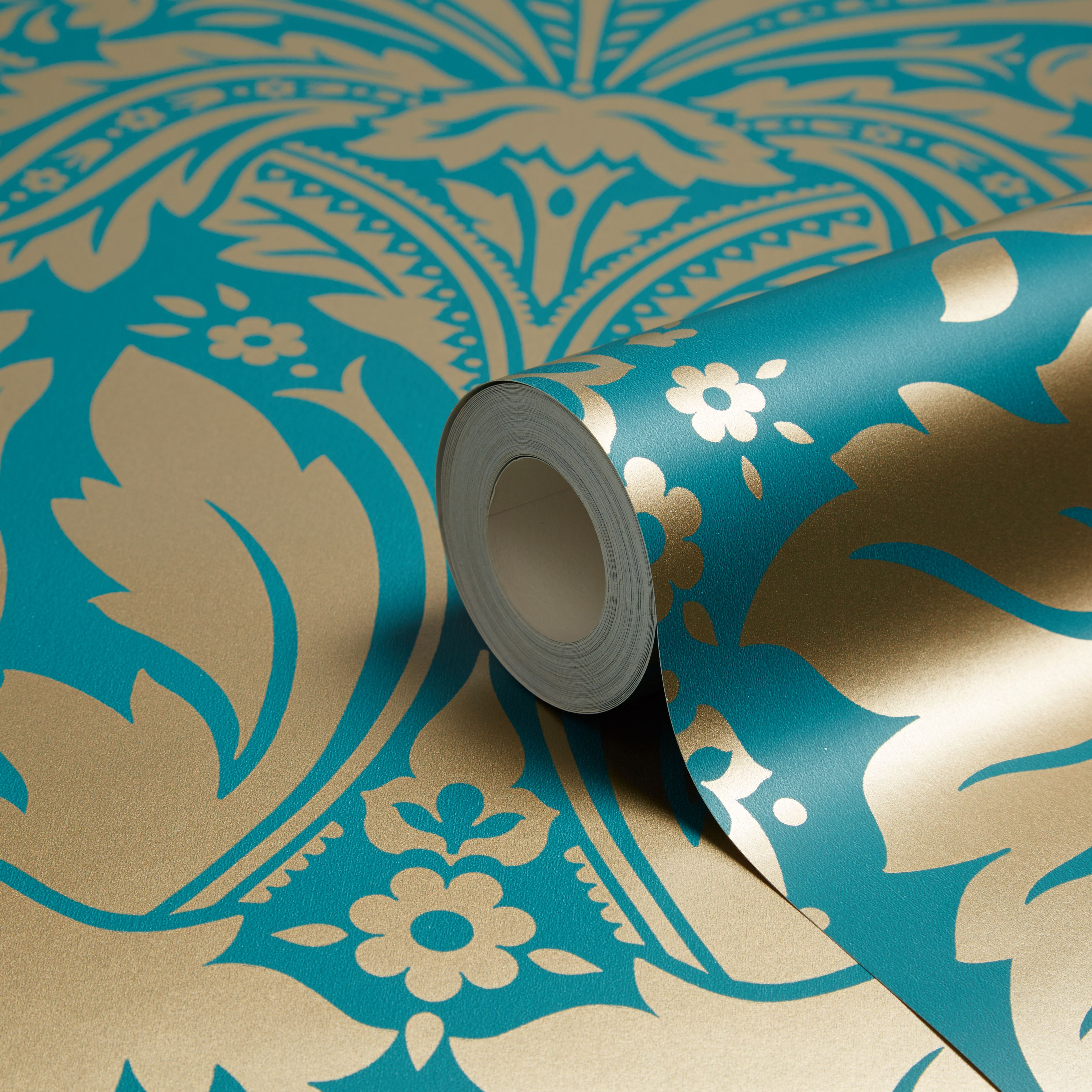 5011583012484 Desire Wallcovering Teal Gold Eff