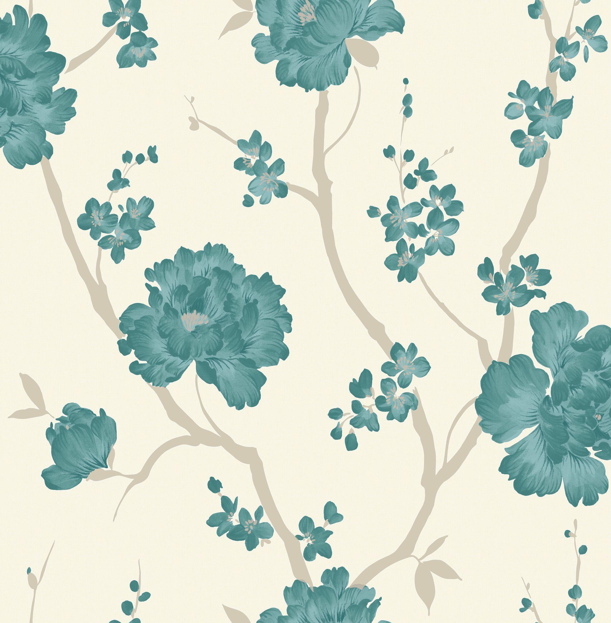 Laurence Llewelyn Bowen Love Letter Teal Floral Wallpaper