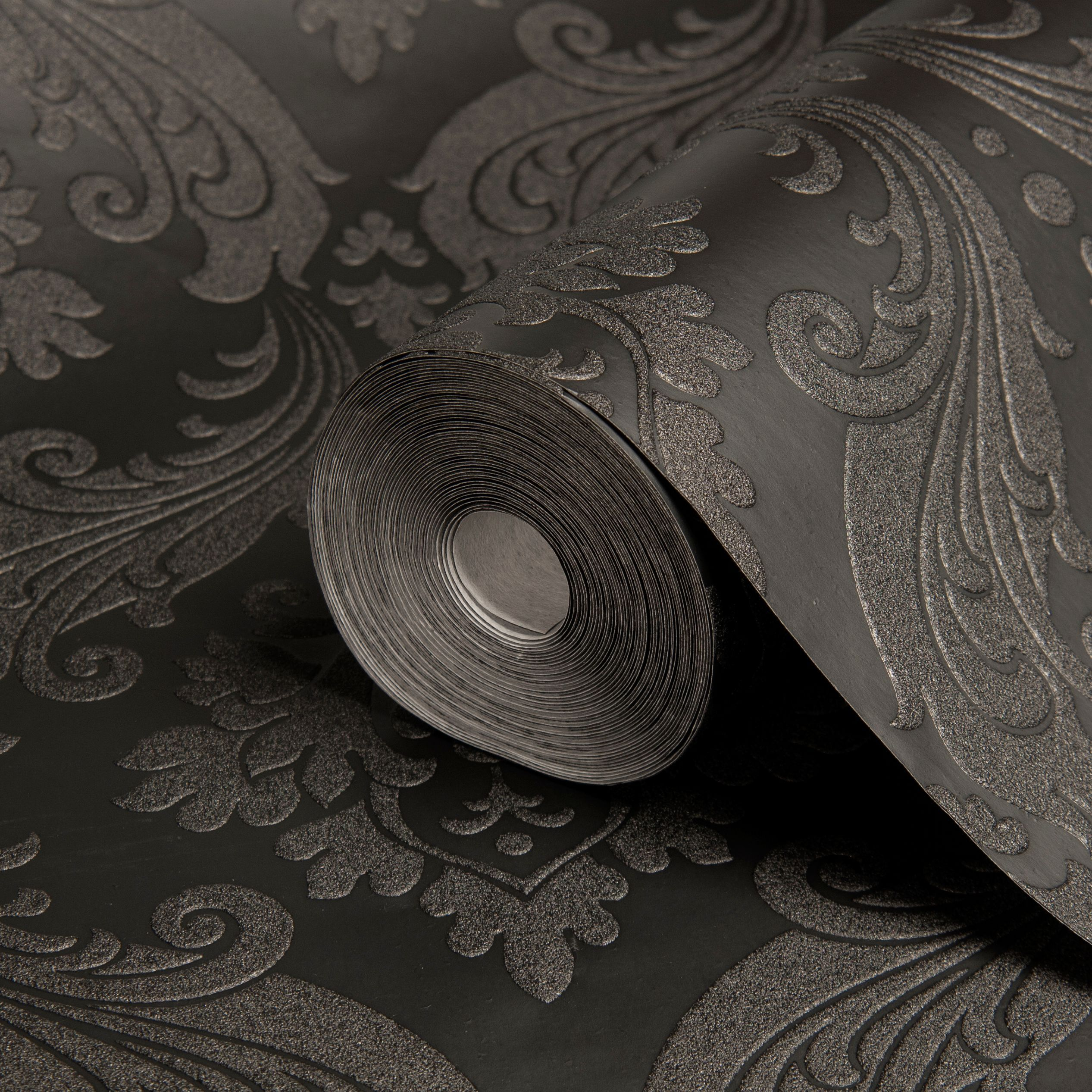 Graham Brown Kelly Hoppen Black Damask Wallpaper