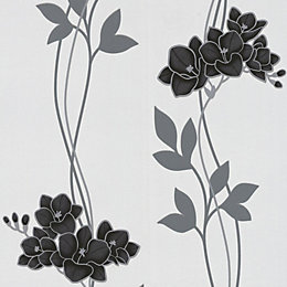 Graham & Brown Superfresco Black Ornamental Orchid Wallpaper