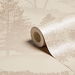 Graham & Brown Mirage Latte Trees Wallpaper