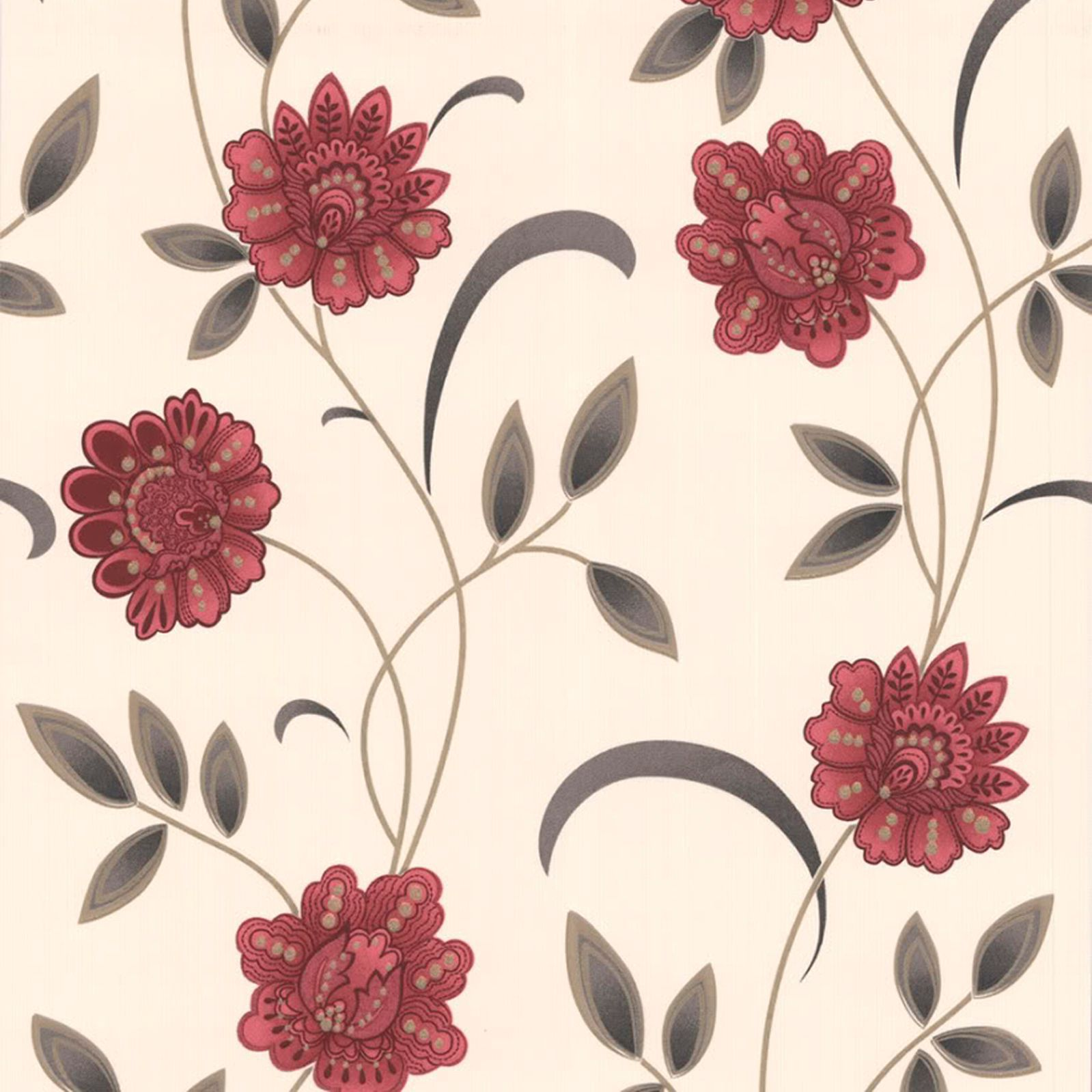 Graham Brown Sadie Red Cream Floral Wallpaper Departments Diy At B Q