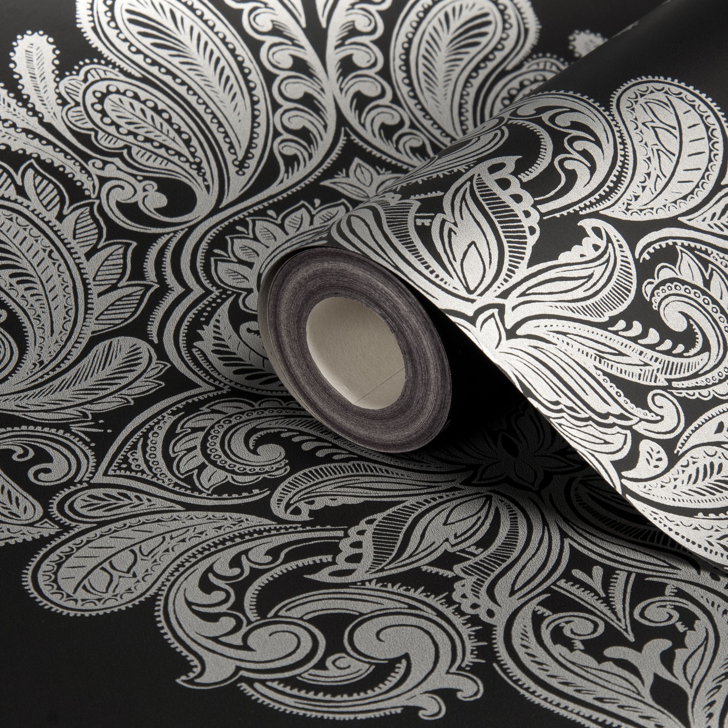 Laurence Llewelyn-Bowen Cote Coutre Black Damask Wallpaper | Departments | DIY at B&Q